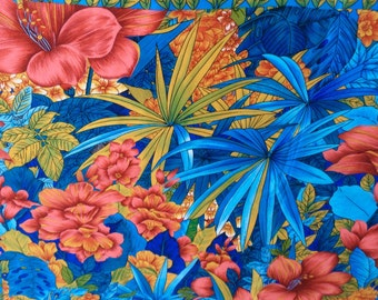 ON SALE, Vintage Albert Nippon Silk Scarf, Designer Silk Scarf, Tropical Pattern, Vivid Turquoise with Hibiscus, Mint Condition, Stunning