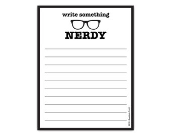 """Write Something Nerdy Funny Gift Paper Notepad 4.25"""" x 5.5"""", 50-sheet Grocery List Pad"""