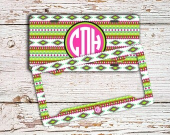 Monogrammed tribal license plate - Aztec pattern in lime green and hot pink - Monogram aztec car tag - Bicycle license plate bike tag (9949)