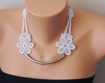 White Necklace/ Lace Necklace/ Silver Bar Necklace/ Arc Necklace/ AFlower Necklace/ Wedding Necklace/ Gift For Her