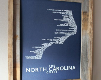 The North Carolina Coast Word Map (Dark Blue) - Unframed