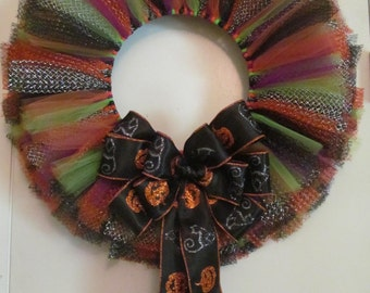 Halloween Tulle and Ribbon Wreath - Handmade