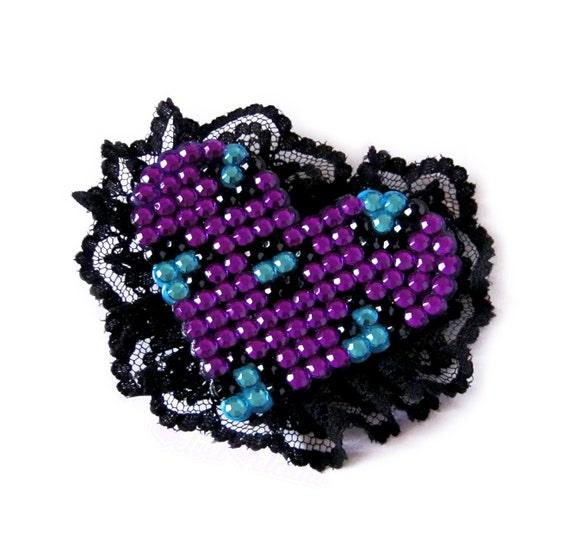 Sparkly Lace Edged Leopard Print Heart Hair Clip - Custom Colour Rhinestone Cheetah Print Heart Hair Accessory - Burlesque Heart Hair Clip