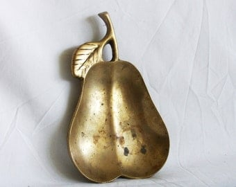 Delicious Golden Pear. Solid brass vintage trinket, ring, soap dish. Vanity tray. Boho, Cottage, home decor. old, fruit. Orchard of Alcinous