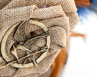 Hunger Games Inspired Mockingjay Brass and Burlap Flower Feather Fascinator, Catching Fire, Mockingjay, Katnis,Hungergames,Cosplay,Style 279