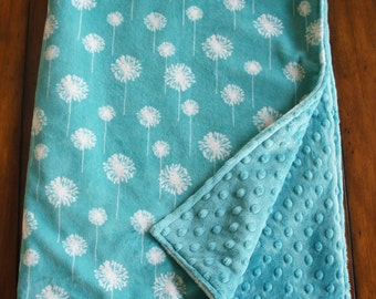 Minky Baby Blanket - Teal and Snow Dandelion Minky - Double Sided Minky Blanket