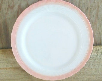 Pink Fire King Plate Ivory Vitrock Glass Dish Round Serving 1930's