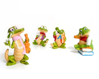 Vintage Kinder Surprises - Four Miniature Crocos - Kinder Ferrero Egg Collectible - 1990s