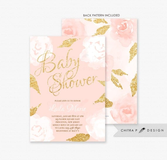 Blush Pink & Gold Baby Shower Invitations - Printed, Girl ...