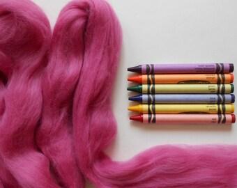 MERINO WOOL ROVING / Light Fuschia 1 ounce / merino wool top / merino roving for doll hair, needle felting, spinning yarn, wool dreadlocks