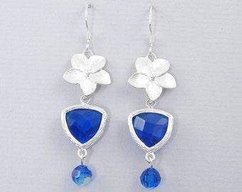 Blue Crystal Earrings Blue Zircon Silver Flower Turquoise Drop Earrings  AB1-12