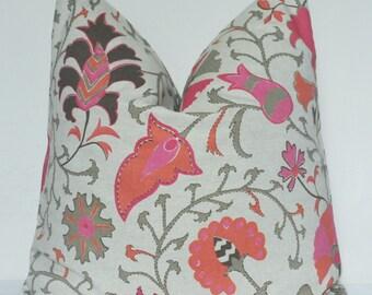 Pink Pillow Cover, Pink Suzani, Pink Floral Pillow, Decorative Pillow, Throw Pillow, Toss Pillow, Sofa Pillow, Home Decor, Home Furnishing