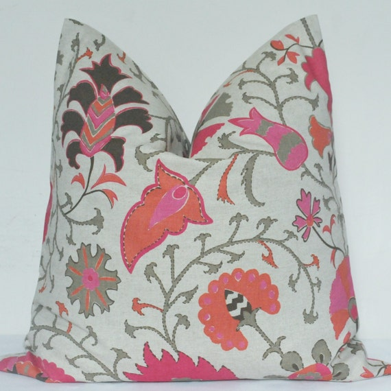 Etsy Pink Throw Pillow : Items similar to Pink Pillow Cover, Pink Suzani, Pink Floral Pillow, Decorative Pillow, Throw ...