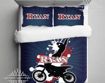 Motocross Personalized Bedding Duvet Or Comforter Personalize Your Colors Dirt Bike Bedroom Custom
