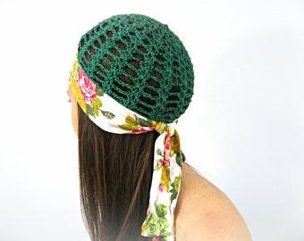 Summer hat, Beanie hat women, Green flower women hat, chemo floral hat,gypsy green roses hat,womens crochet hats,boho fashionable hat ZAPrix