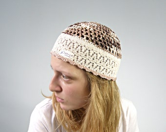 Iris - Beige Brown Summer Beanie HAT COTTON Hippie hat women summer hats beige Gypsy hats by Zaprix