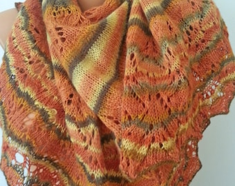 Hand Knit Wool & Silk Lace-Weight Shawl