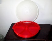 "1950s Tupperware 12"" Round Red Six Sectioned, Three Piece, Relish Tray or Carrier, Excellent"
