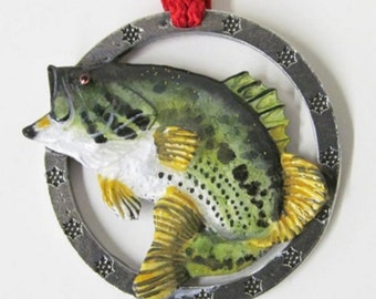 Painted ~ Largemouth Bass Leaping Left ~ Holiday Ornament ~ FP085OR