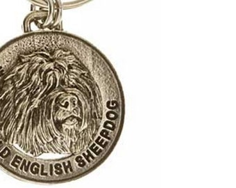 Pewter ~ Old English Sheepdog Keychain ~ DK132