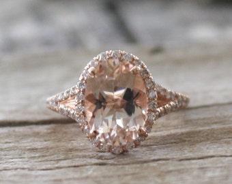 Oval Morganite Split Shank Diamond Engagement Ring in 14K Rose Gold