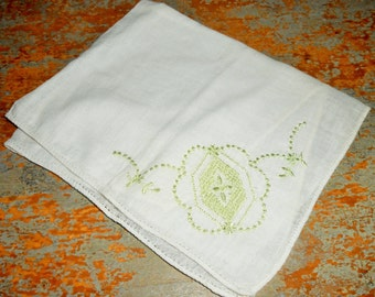 Vintage Hankie, White & Green, Handkerchief, Pocket Square, Hanky