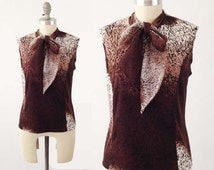 Vintage 60s Pussy Bow Blouse  - Brown Ombre Tank Top - Sleeveless Ascot Shell Top  - Size Medium M