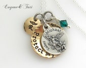 Gift for Policeman. Saint Michael. St. Michael, USA Navy, St Michael Necklace, St Michael Charm, Engraved, Custom, Personalized Gift Husband