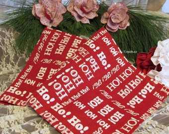 Christmas Table Runner, Ho Ho Ho Burlap Runner, Red White Burlap, Primitive Christmas Decor, Christmas Burlap Runner, Primitive Table Runner