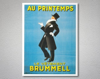 Le Vetement Brummell Vintage Poster by Leonette Cappiello, 1937 - Poster Paper, Sticker or Canvas Print