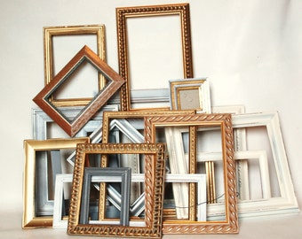 Frames gold set of 20 white and with metallic frames