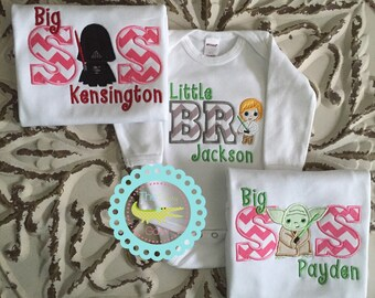 Star Wars-inspired Big Brother Little Brother Set,Big Sister Little Sister, Matching Sibling Shirts, Personalized Sibling Outfits,