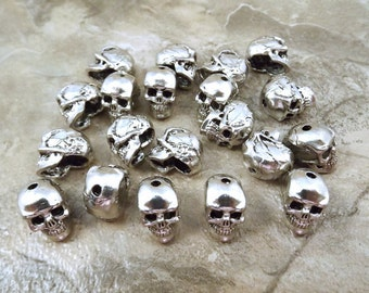 20 Pewter 12mm Skull Beads with Vertical 1.4mm Hole - 5095