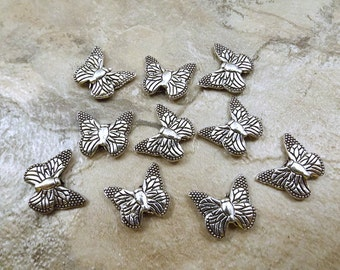 10 Pewter Butterfly  Beads - 5394
