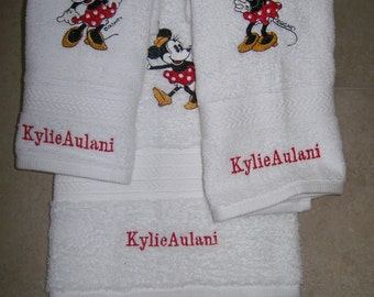 Minnie Mouse 3 Piece Embroidered  Bath Towel Set- Personalized