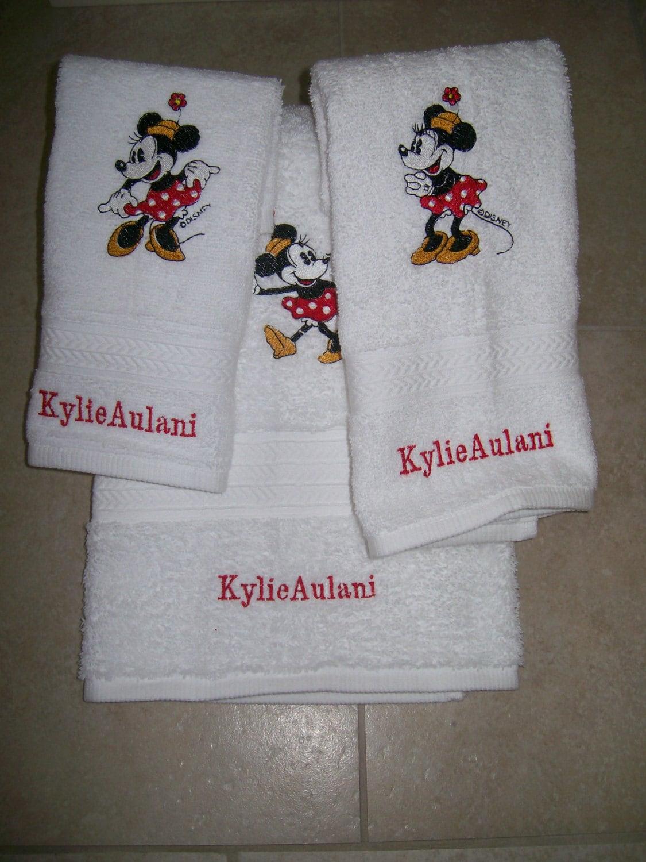 minnie mouse 3 morceau brod bain serviette set personnalis. Black Bedroom Furniture Sets. Home Design Ideas