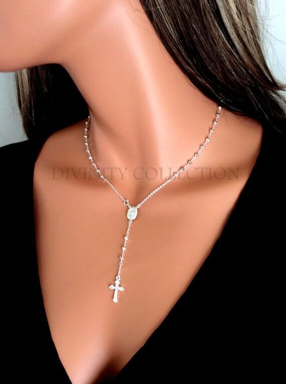 HAUTE qualité en argent Sterling chapelet collier Pyrite chapelets Croix  colliers femmes bijoux religieux Houswives spirituel