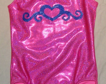 Gymnastics Leotard Girls size 4-5a pink twinkle with Royal blue heart