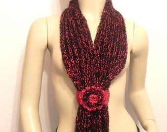 black and red hand knitted wool scarf fashion trend crocheted flower woman accessories