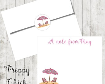 Set of 24-Preppy Notecards, Personalized Flat Note Cards, Preppy Stationery, Tropical, Beach Chairs, Thank You Cards, Teacher Notes
