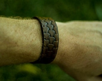 Hand Made Viking Basket Weave Pattern Leather Bracelet