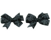 Small Halloween Hairbow, Girl Halloween Hair Bow, Spider Web Hair Bow, Black Hair Bow, Pinwheel, for girls, toddlers