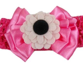 Baby Flower Headband, Pink Bow Headband, Baby Head Band, Pink Headband, Baby Headband Bow