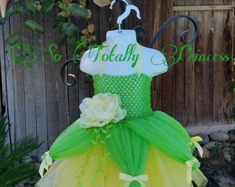 Princess Tiana tutu dress/Frog princess tutu dress/Disney Princess inspired tutu dress/Birthday tutu dress/Halloween costume/Tutu dress