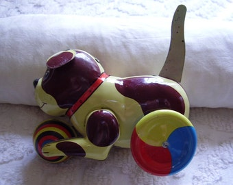 Vintage Push and Go Metal Collectible Dog/1980's