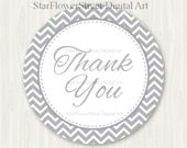 "Gray Grey Favor Tags Baby Shower Neutral Boy Girl Wedding thank you label chevron printable digital download party sprinkle hang 2"" decor"