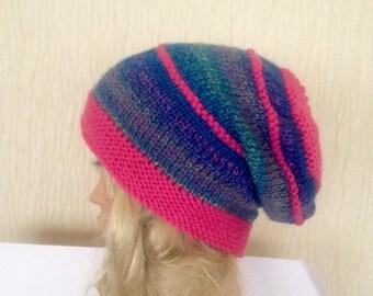 Ooak unique womens designer hand knit hat pink blue rainbow multi  wool yarn beanie slouch hat,rainbow festival hat,irish handmade,hippie