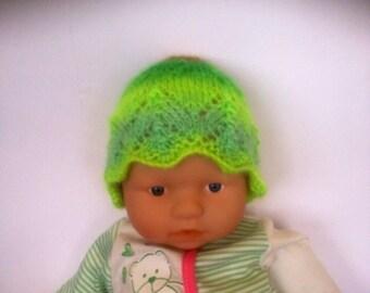 Hippie rainbow multi Ooak unique designer baby girls hand knit,crocheted beanie cap,newborn to 3 months,flower photo prop green
