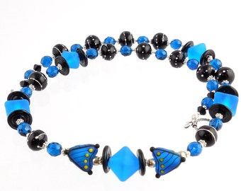 blue and black sterling silver modern style lampwork necklace statement necklace lampwork jewelry