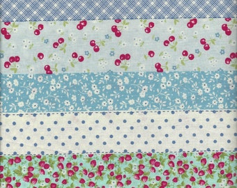 Floral Stripe in Blue (ColB) from the 30's Collection by Atsuko Matsuyama for Yuwa of Japan